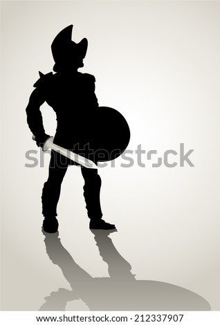 Silhouette illustration of a gladiator holding a shield and gladius - stock vector