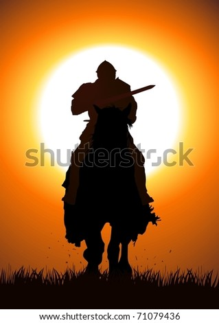 Silhouette illustration of a knight with a lance jousting - stock vector