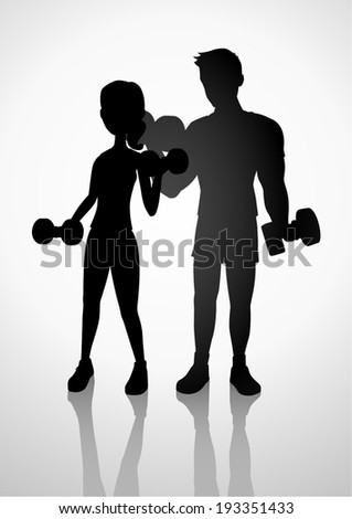 Silhouette illustration of a man and woman exercising with dumbbells - stock vector