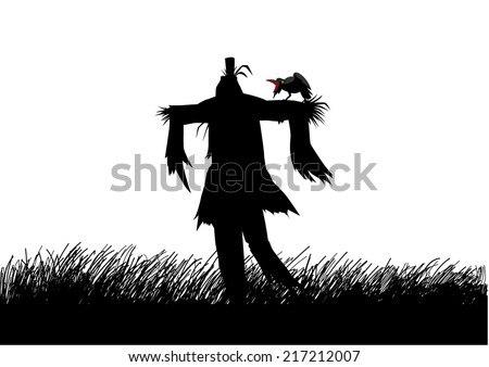 Silhouette illustration of a scarecrow on a field - stock vector