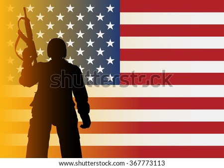 Silhouette illustration of a soldier from low angle shot on American flag - stock vector