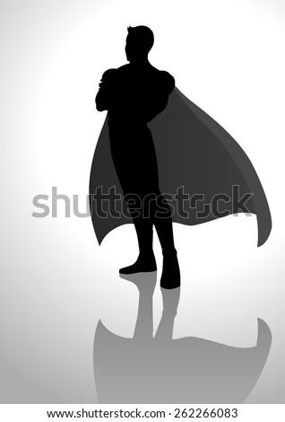 Silhouette illustration of a superhero - stock vector