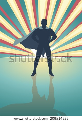 Silhouette illustration of a superhero standing in front of colorful light burst - stock vector