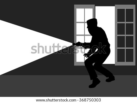 Silhouette illustration of a thief break into the house through window - stock vector
