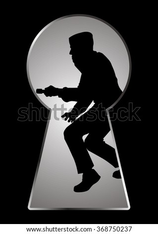Silhouette illustration of a thief seen through a keyhole - stock vector
