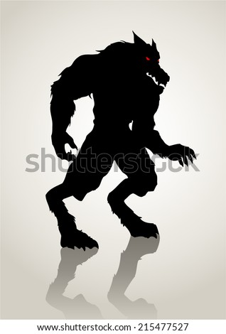Silhouette illustration of a werewolf - stock vector
