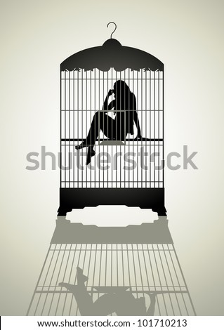 Silhouette illustration of a woman in the bird cage - stock vector