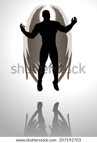 Silhouette illustration of an angel figure  - stock vector