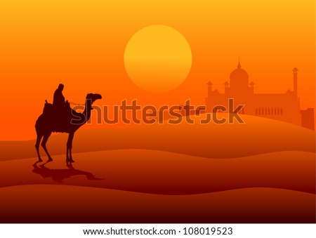 Silhouette illustration of an Arabian riding a camel on the desert with middle east architecture in the distance - stock vector
