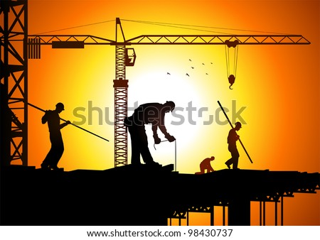 Silhouette illustration of construction workers - stock vector