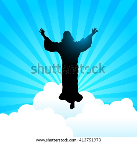 Silhouette illustration of Jesus Christ raising His hands, for the ascension day of Jesus Christ theme - stock vector