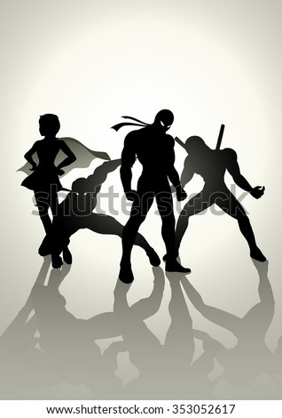 Silhouette illustration of superheroes in different pose - stock vector