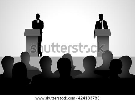 Silhouette illustration of two men figure debating on podium - stock vector