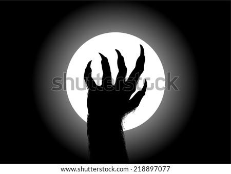 Silhouette illustration of werewolf hand against the full moon - stock vector