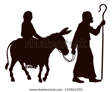 Silhouette illustrations of Mary and Joseph journeying with a donkey looking for a place to stay on Christmas Eve. - stock vector