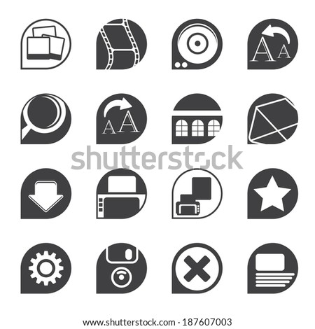 Silhouette Internet and Website Icons - Vector Icon Set - stock vector