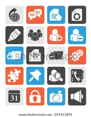 Silhouette Internet blogging icons - vector icon set - stock vector
