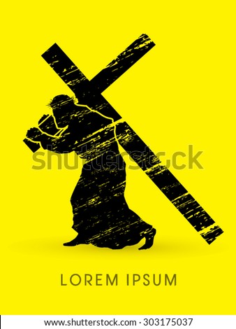 Silhouette, Jesus Christ carrying cross, designed using grunge graphic vector - stock vector
