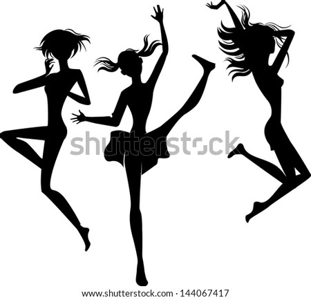 silhouette jumping cheerful girls - stock vector