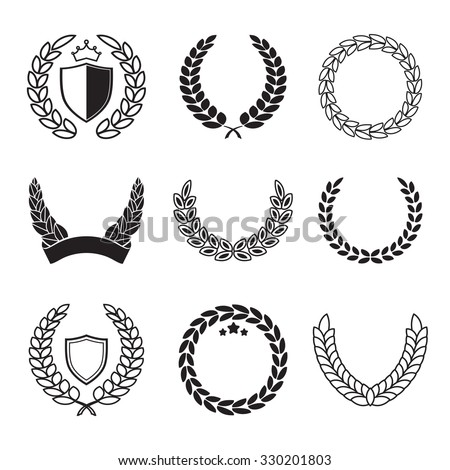 Silhouette laurel wreaths in different  shapes - half circle, circle with shields, crowns and stars - stock vector