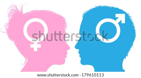 Silhouette man and woman heads with male and female sex symbol icons - stock vector