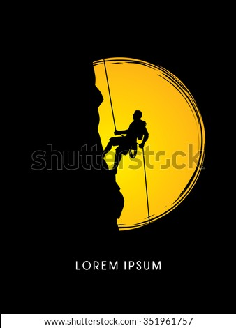 Silhouette Man climbing on a cliff, designed  on moonlight background graphic vector. - stock vector