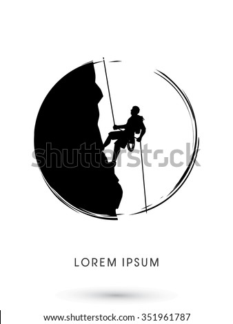 Silhouette Man climbing on a cliff, designed using grunge brush graphic vector. - stock vector