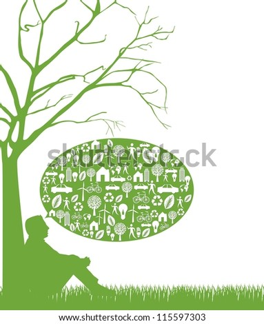 silhouette man over grass, thinking green. vector illustration - stock vector