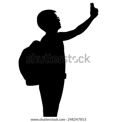 Silhouette man with backpack using mobile phone, vector format - stock vector