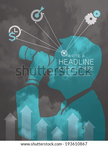 Silhouette Man with binocular business vision concept vector illustration - stock vector