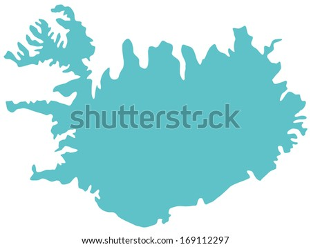 Silhouette map of the Iceland - stock vector