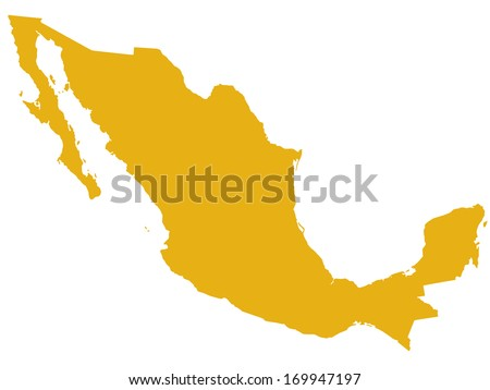 Silhouette map of the Mexico. All objects are independent and fully editable - stock vector