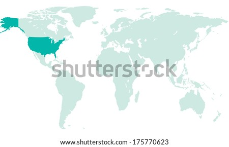 Silhouette map of the USA on the world map. All objects are independent and fully editable.   - stock vector