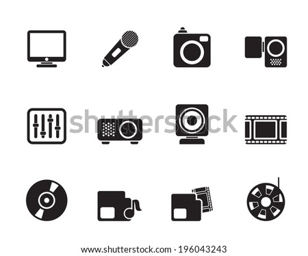Silhouette Media equipment icons - vector icon set - stock vector