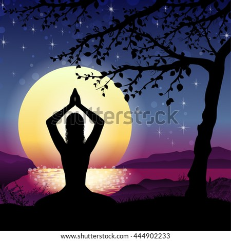 Silhouette Meditation with Nature and Sun on Background-Transparency Blending Effects and Gradient Mesh-EPS 10. - stock vector