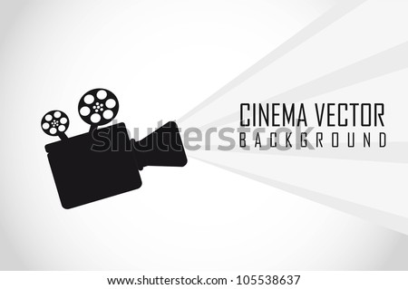silhouette movie projector with space for copy. vector - stock vector