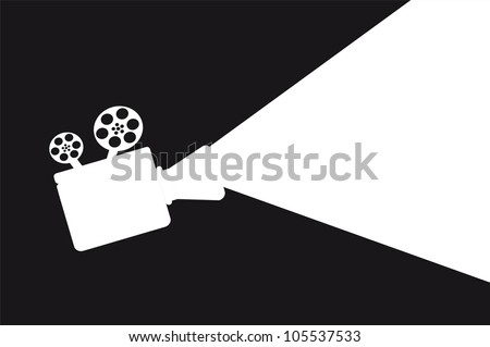 silhouette movie projector with space for copy. vector illustration - stock vector