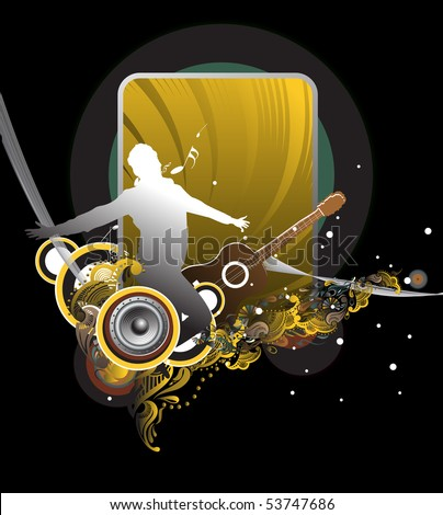 silhouette music men jumping with flowing waves of color. Vector illustration. - stock vector