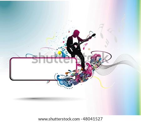 silhouette music men play a guitar with sample text banner, Vector Illustration, No mesh in this Vector - stock vector