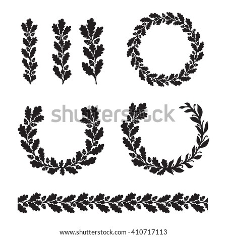 Silhouette oak wreaths in different  shapes - half circle, circle, branch and seamless border - stock vector