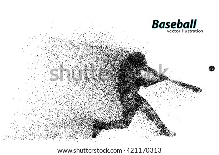 silhouette of a baseball player from particle. Text on a separate layer, color can be changed in one click - stock vector