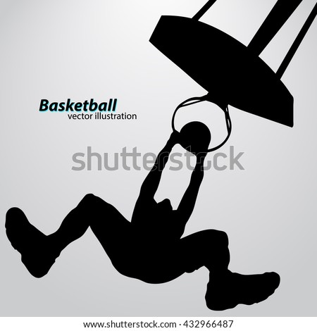 Silhouette of a basketball player. Background and text on a separate layer, color can be changed in one click. Basketball player - stock vector