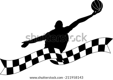 Silhouette of a basketball player rebounding the ball coming out of checkered flag banner - stock vector