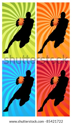 silhouette of a basketball player running with the ball - stock vector