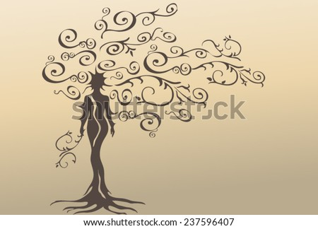 Silhouette of a beautiful woman embodied in dead, dry, stylized tree. - stock vector