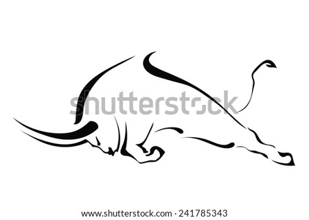 Silhouette of a bull in a fight in the profile on a white background. Trademark farm. Vector illustration. - stock vector