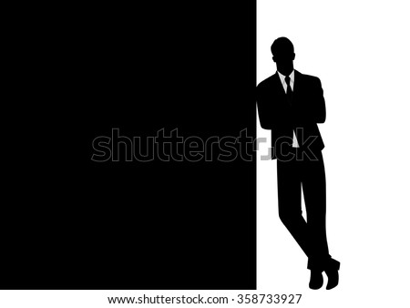 Silhouette of a businessman leaning at black blank space for copy with arm crossed - stock vector