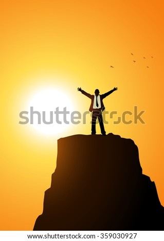 Silhouette of a businessman standing with open arms on top of a mountain. Success, determination, freedom concept - stock vector