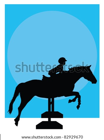 Silhouette of a child jumping a horse against a blue background - stock vector
