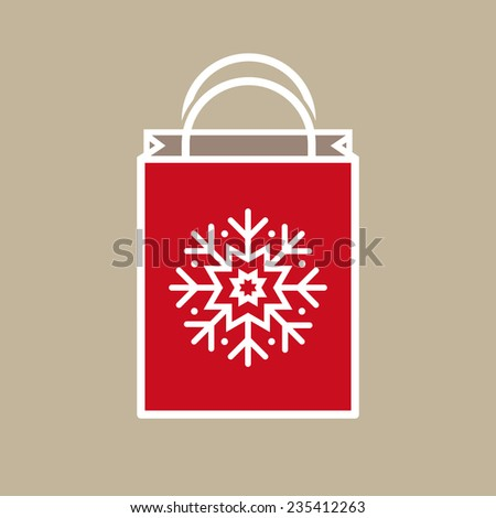 Silhouette of a Christmas holiday gift bag with snowflake ornament decoration on light beige background. - stock vector